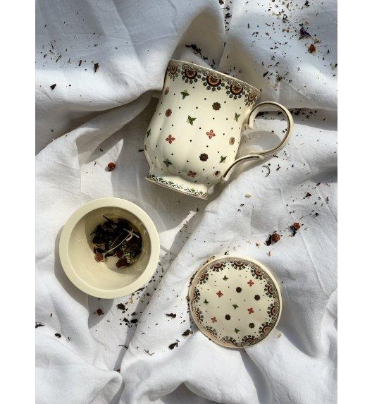 WYPRZEDAŻ! DUO CASABLANCA / Kubek z zaparzaczem i pokrywką / 450 ml / porcelana