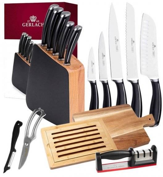 GERLACH LOFT Komplet 5 noży w bloku + deska akacjowa + deska bambusowa + ostrzałka + nożyce + obierak
