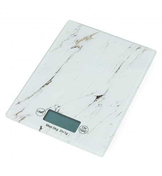 TADAR Elektroniczna waga kuchenna szklana / biały marmurek