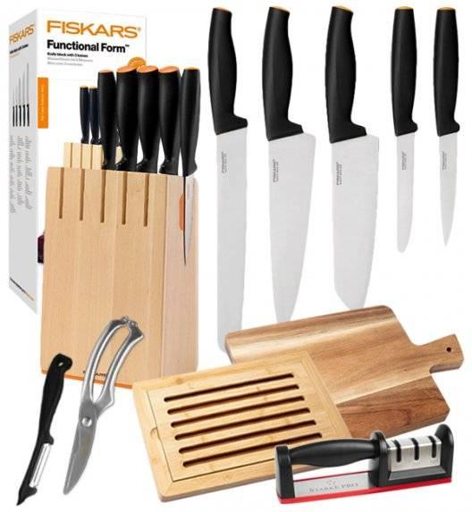 FISKARS FUNCTIONAL FORM 1014211 Komplet 5 noży kuchennych w drewnianym bloku / stal nierdzewna / rękojeść Softgrip® +deska akacjowa + deska bambusowa + ostrzałka + nożyce + obierak