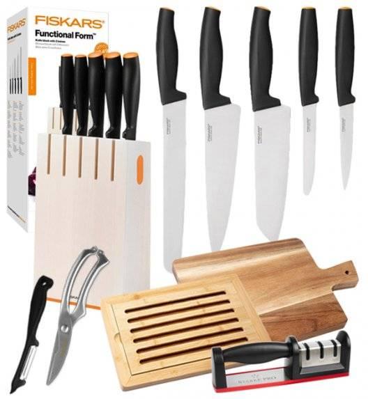 FISKARS FUNCTIONAL FORM 1014209 Komplet 5 noży kuchennych w białym bloku drewnianym / stal nierdzewna / rękojeść Softgrip® + deska akacjowa + deska bambusowa + ostrzałka + nożyce + obierak