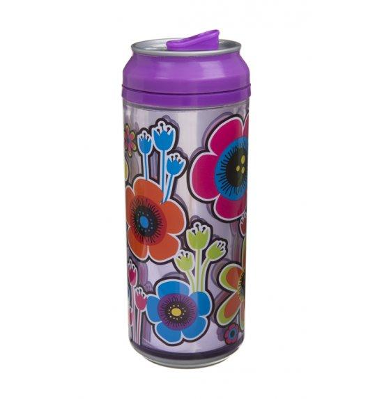 Cool Gear 473 ml Puszka z podwójną ścianką w kolorze fioletowym w kolorowe kwiaty / Btrzy
