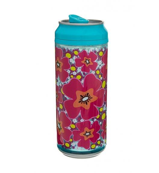 Cool Gear 473 ml Puszka z podwójną ścianką w kolorze turkusowym w różowo-pomarańczowe kwiaty / Btrzy