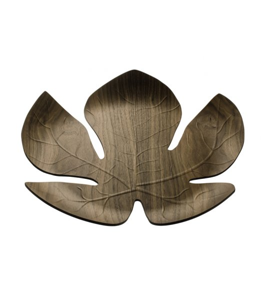 Legnoart Adamo Taca ozdobna wykonana z drewna orzecha włoskiego 41 x 40,5 cm w kształcie liścia. Btrzy.