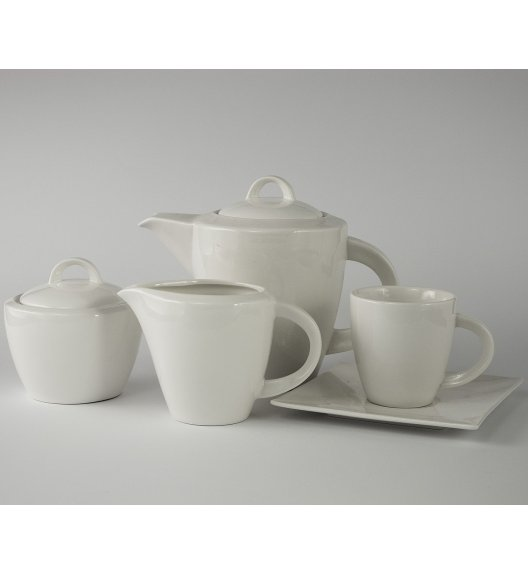 DUO WHITE Komplet kawowy 15 el / 6 osób / porcelana
