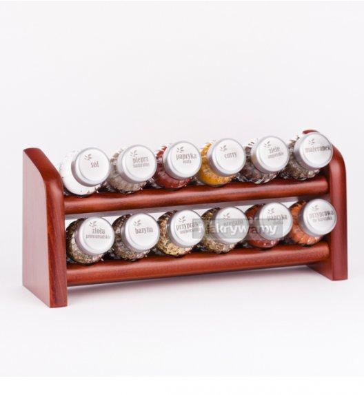 Gald półka drewniana w kolorze brązowym z 12 przyprawami. Nakrętki mat. Polski produkt. NK 057 / EAN 5904006098571.