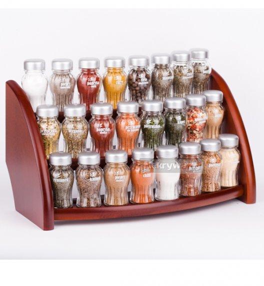 Gald półka drewniana w kolorze brązowym z 24 przyprawami. Nakrętki mat. Polski produkt. NK 040 / EAN 5904006098403.