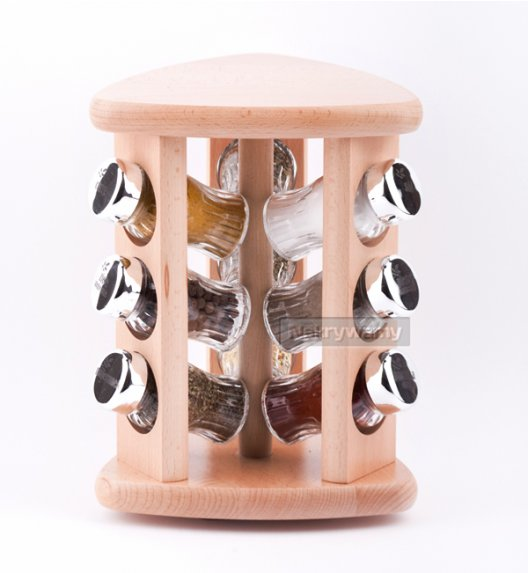 Gald stojak obrotowy drewniany w kolorze naturalnym z 9 przyprawami. Nakrętki połysk. Polski produkt. NK 0147 / EAN 5901832921479.