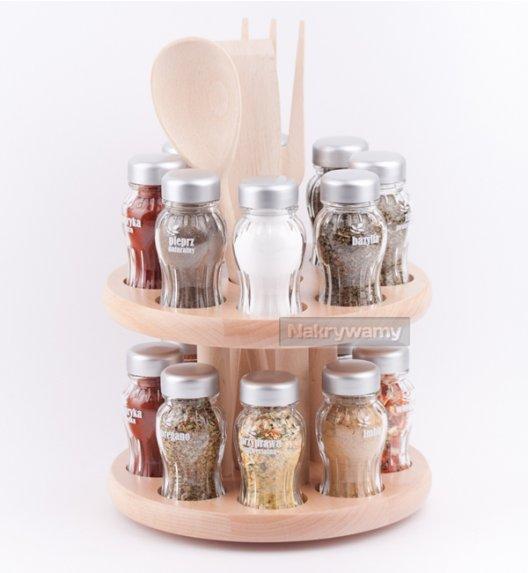 Gald stojak obrotowy drewniany w kolorze naturalnym z 16 przyprawami. Nakrętki mat. Polski produkt. NK 0166 / EAN 5901832921660.