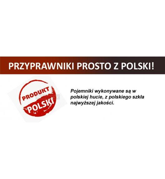 Gald Zestaw pojemników na 4 przyprawy z podkładką drewnianą w kolorze venge. Nakrętki połysk. Polski produkt. NK 0261 / EAN 5901832922612