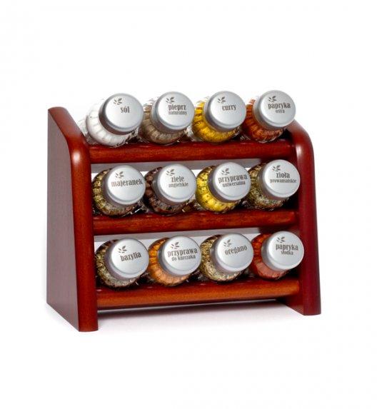 Gald półka drewniana w kolorze brązowym z 12 przyprawami. Nakrętki mat. Polski produkt. NK 0023 / EAN 5901832920236.