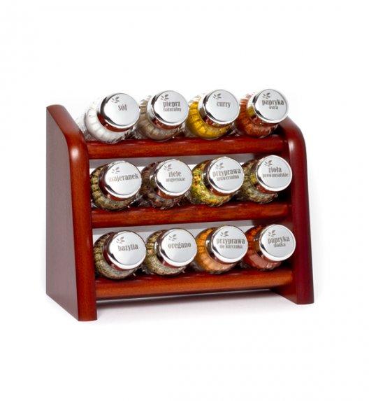 Gald półka drewniana w kolorze brązowym z 12 przyprawami. Nakrętki połysk. Polski produkt. NK 0094 / EAN 5901832920946.