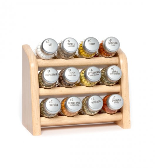 Gald półka drewniana w kolorze naturalnym z 12 przyprawami. Nakrętki mat. Polski produkt. NK 0095 / EAN 5901832920953.