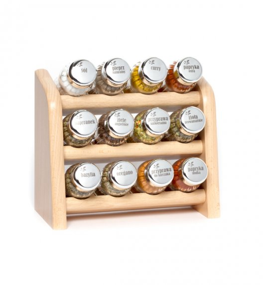 Gald półka drewniana w kolorze naturalnym z 12 przyprawami. Nakrętki połysk. Polski produkt. NK 0096 / EAN 5901832920960.