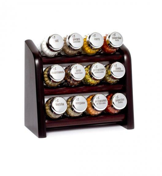 Gald półka drewniana w kolorze venge z 12 przyprawami. Nakrętki połysk. Polski produkt. NK 0098/ EAN 5901832920984.