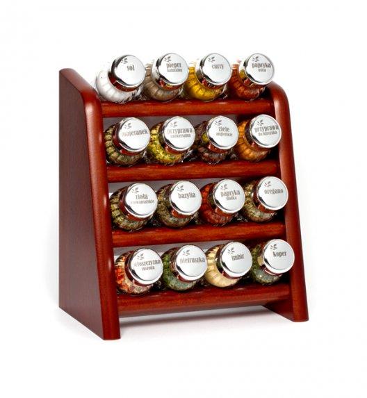 Gald półka drewniana w kolorze brązowym z 16 przyprawami. Nakrętki połysk. Polski produkt. NK 0118 / EAN 5901832921189.