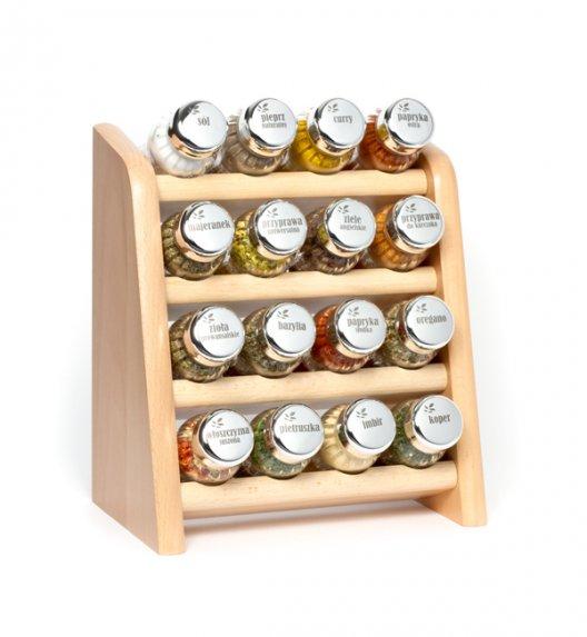 Gald półka drewniana w kolorze naturalnym  z 16 przyprawami. Nakrętki połysk. Polski produkt. NK 0121 / EAN 5901832921219.