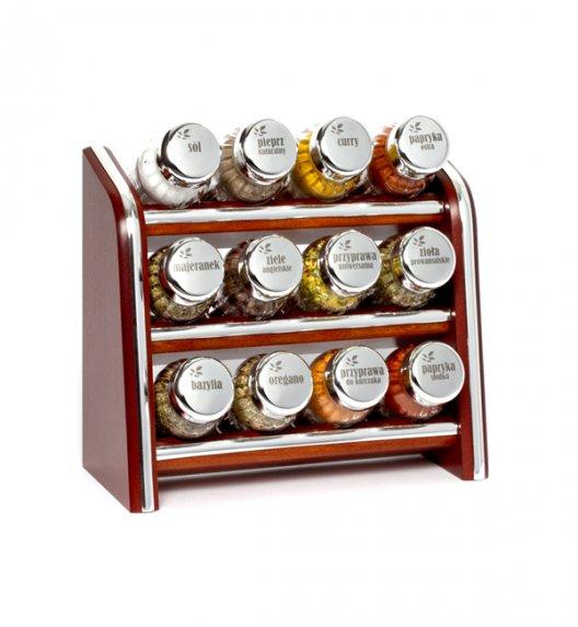 Gald Silver półka drewniana w kolorze brązowym z 12 przyprawami. Nakrętki połysk. Polski produkt. NK 0099 / EAN 5901832920991.