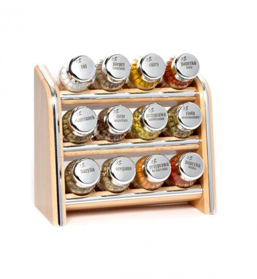 Gald Silver półka drewniana w kolorze naturalnym z 12 przyprawami. Nakrętki połysk. Polski produkt. NK 0102 / EAN 5901832921028.