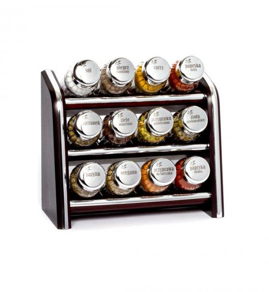 Gald Silver półka drewniana w kolorze venge z 12 przyprawami. Nakrętki połysk. Polski produkt. NK 0104 / EAN 5901832921042.