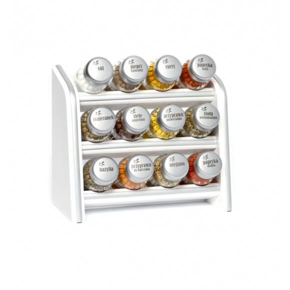 Gald Silver półka drewniana w kolorze białym z 12 przyprawami. Nakrętki mat. Polski produkt. NK 0039 / EAN 5901832920397.