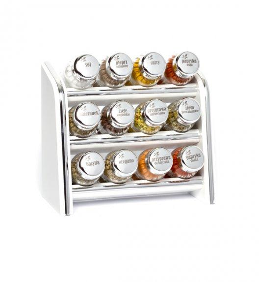 Gald Silver półka drewniana w kolorze białym z 12 przyprawami. Nakrętki połysk. Polski produkt. NK 0006 / EAN 5901832920069.