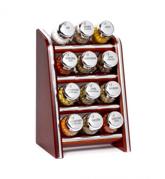 Gald Silver półka drewniana w kolorze brązowym z 12 przyprawami. Nakrętki połysk. Polski produkt. NK 0112 / EAN 5901832921127.