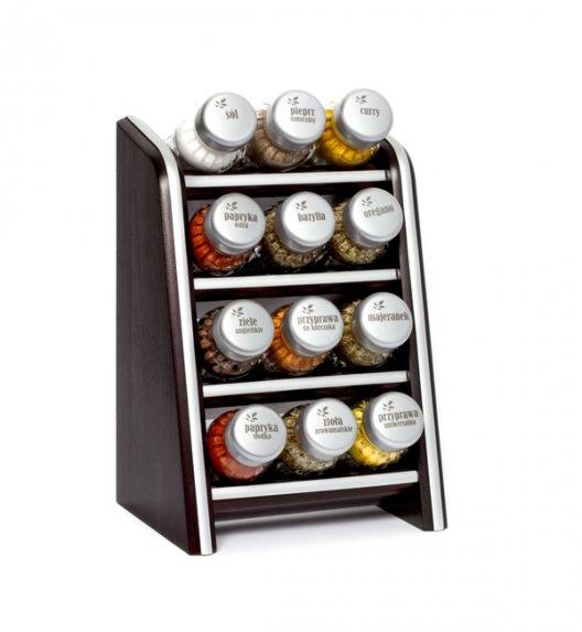 Gald Silver półka drewniana w kolorze venge z 12 przyprawami. Nakrętki mat. Polski produkt. NK 0115 / EAN 5901832921158.