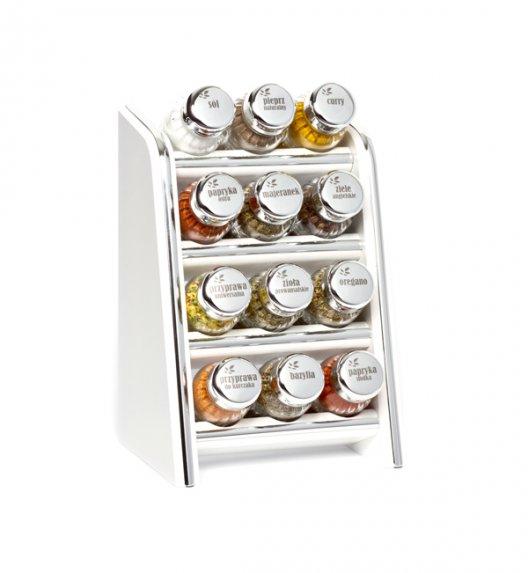 Gald Silver półka drewniana w kolorze białym z 12 przyprawami. Nakrętki połysk. Polski produkt. NK 0117 / EAN 5901832921172.