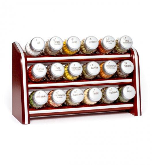 Gald Silver półka drewniana w kolorze brązowym z 18 przyprawami. Nakrętki mat. Polski produkt. NK 060 / EAN 5904006098601.