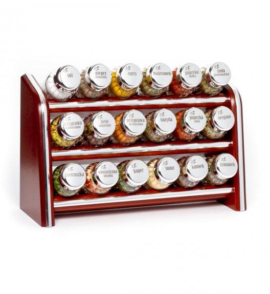 Gald Silver półka drewniana w kolorze brązowym z 18 przyprawami. Nakrętki połysk. Polski produkt. NK 0064 / EAN 5901832920649.