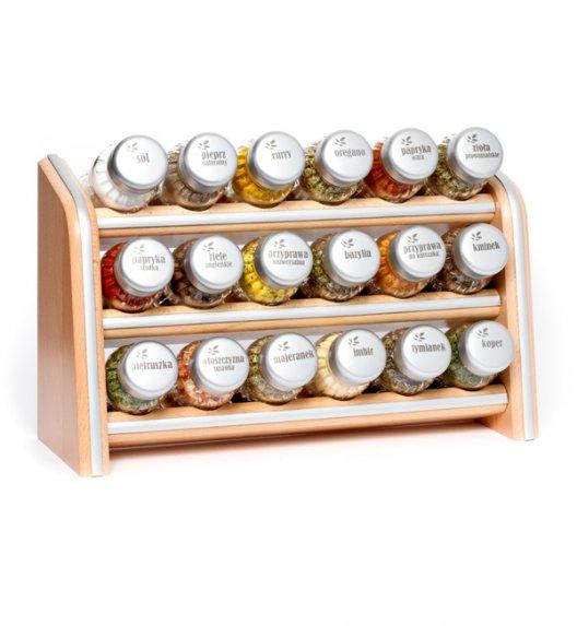 Gald Silver półka drewniana w kolorze naturalnym z 18 przyprawami. Nakrętki mat. Polski produkt. NK 0065 / EAN 5901832920656.
