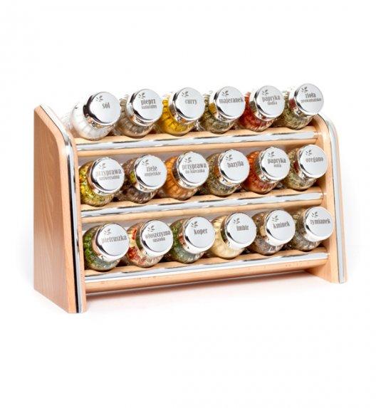 Gald Silver półka drewniana w kolorze naturalnym z 18 przyprawami. Nakrętki połysk. Polski produkt. NK 0066 / EAN 5901832920663.