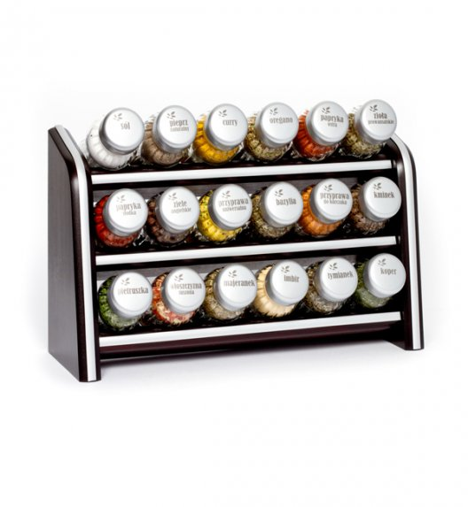 Gald Silver półka drewniana w kolorze venge z 18 przyprawami. Nakrętki mat. Polski produkt. NK 0067 / EAN 5901832920670.
