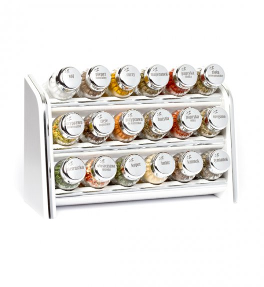 Gald Silver półka drewniana w kolorze białym z 18 przyprawami. Nakrętki połysk. Polski produkt. NK 019 / EAN 5904006098199.