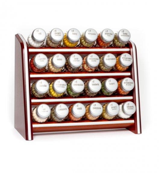 Gald Silver półka drewniana w kolorze brązowym z 24 przyprawami. Nakrętki mat. Polski produkt. NK 021 / EAN 5904006098212.