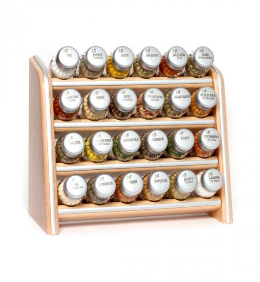 Gald Silver półka drewniana w kolorze naturalnym z 24 przyprawami. Nakrętki mat. Polski produkt. NK 0077 / EAN 5901832920779.