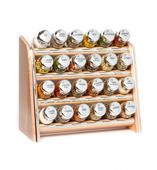 Gald Silver półka drewniana w kolorze naturalnym z 24 przyprawami. Nakrętki połysk. Polski produkt. NK 0078 / EAN 5901832920786.