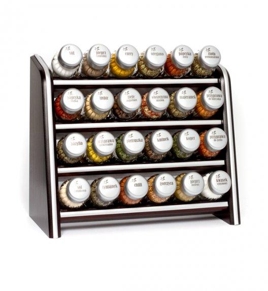 Gald Silver półka drewniana w kolorze venge z 24 przyprawami. Nakrętki mat. Polski produkt. NK 0079 / EAN 5901832920793.