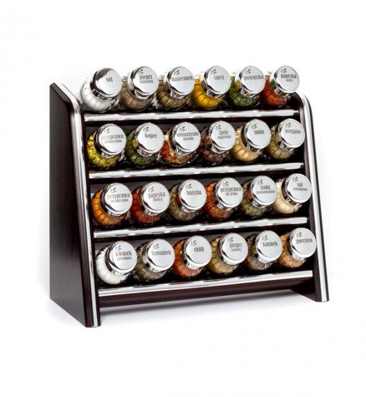 Gald Silver półka drewniana w kolorze venge z 24 przyprawami. Nakrętki połysk. Polski produkt. NK 0081 / EAN 5901832920816.