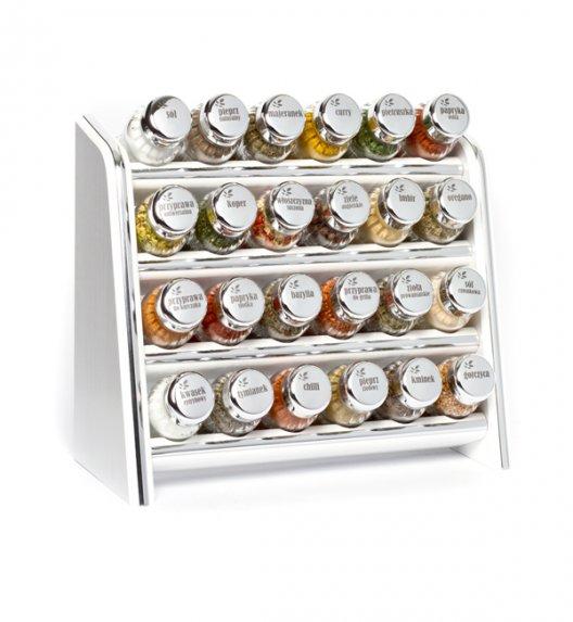 Gald Silver półka drewniana w kolorze białym z 24 przyprawami. Nakrętki połysk. Polski produkt. NK 0018 / EAN 5901832920182.