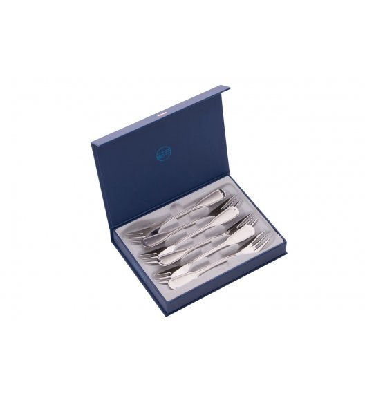 ODISO 7500 AUGSBURGER FADEN Sztućce Komplet widelczyków deserowych w opakowaniu prezentowym / Satynowane / Stal nierdzewna 18/10 / Gwarancja wieczysta