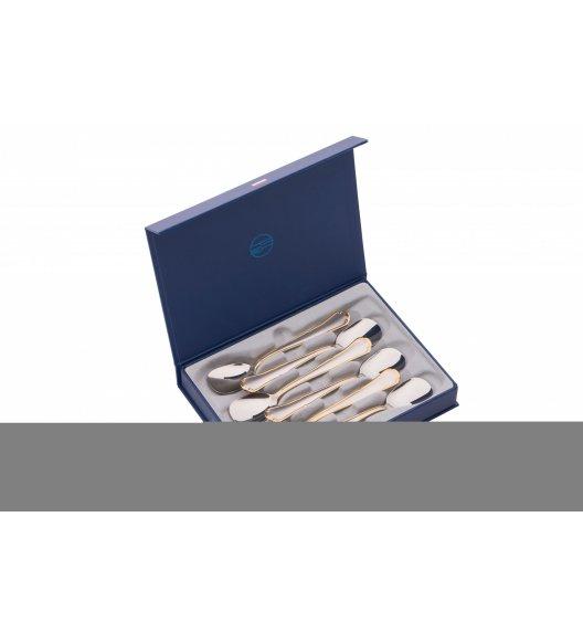 ODISO 2139 ROMA Sztućce Komplet łyżeczek do lodów w opakowaniu prezentowym / Satynowano-złocone / Stal nierdzewna 18/10 / Gwarancja wieczysta