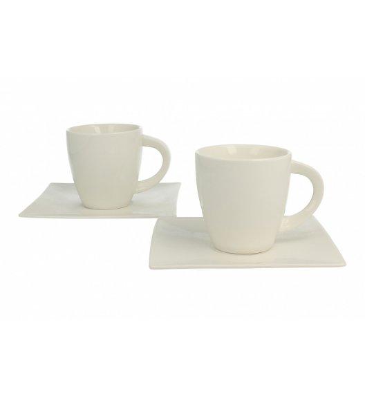 DUO WHITE Komplet 2 filiżanek 170 ml ze spodkami / porcelana